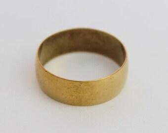 """Vintage 9 Carat Solid Gold 7"""" Thick Wedding Band Ring 9ct 9k 9kt 375 Brimingham 1989 Size S / 9.25"""