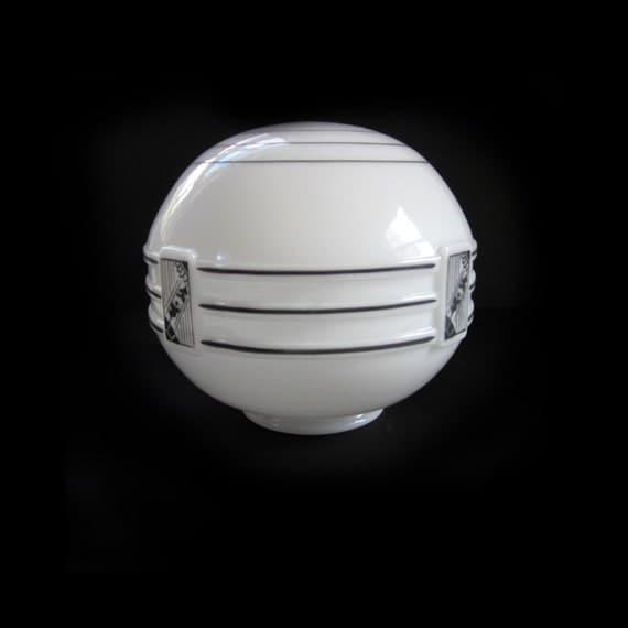 1930s Art Deco Opaline Glass Round Globe Shade By