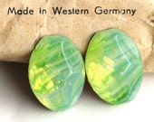 18x13mm Vintage Green Striped Translucent Glass Cabochons Cabs from Western Germany West Germany, Quantity 2