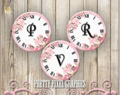 INSTANT DOWNLOAD-Pendant 1 inch circle Pink Rose Vintage Clock WITHOUT clock hands Bottlecap Images