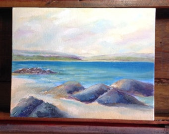 "Original Art, Water Oil Painting ""Rocks on the Beach"""