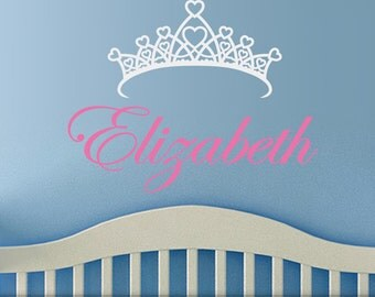 Girls Room Decor Vinyl Wall Decal: Customized Name with Princess Crown for Childrens Bedroom or Baby Nursery Decor, Kids Playroom Decor