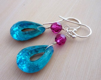 Aqua blue teardrop glass jewel & sterling silver drop earrings handmade by Lush Baubles on etsy.