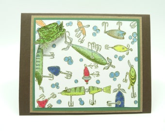Happy Father's Day Greeting Card Father's Day Fishing Card Outdoors Card Sports Card Masculine Handmade Paper Greeting Card for Him