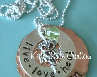Nurse Hand Stamped Mixed Metal Necklace