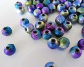 Acrylic Beads In Metallic Rainbow Peacock Colors, 6mm, 50 Pieces, Round Textured Spacers, AR17