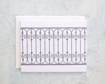 Letterpress Note Cards - Wrought Iron Gate (Set of 6)