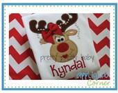 Girlie Reindeer with Pearls Appliquéd Shirt - Christmas Shirt - Holiday Shirt - Christmas Gift - Rockin' the Tutu