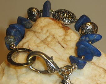 Lapiz Lazuli Nuggets, German Silver and Silvertone Charm Bracelet
