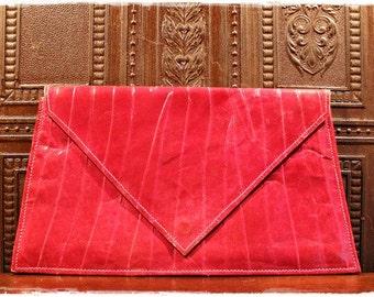 SALE /// Lipstick Red Vtg 80'S Leather Thin Envelope Clutch*Bag