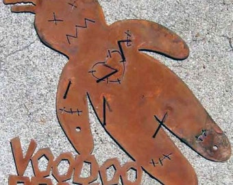 Voodoo Doll Protected Metal Yard Fence Screw Mount Sign