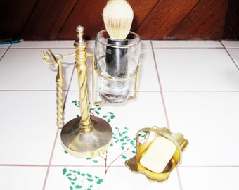 Vintage Brass Shaving Set Original Wilkinson Badger Bristle Brush and Soap Dish/ Men's Vintage Shaving Kit