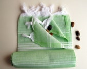 Organic Towel- Green Peshtemal-Eco Friendly Natural Bath Beach Towel- High Quality HandWoven Turkish Bath,Beach,Spa,Yoga,Pool Towel