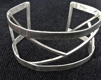 Sterling Silver Geometric Cuff Bracelet