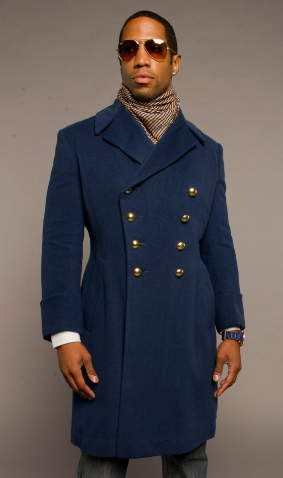 NEW 1960's Vintage MILITARY Style French Blue Wool Coat /