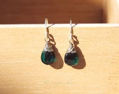 Smoky green quartz and oxidized sterling earrings