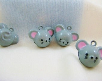 4 Pieces Grey Mice Mouse Animal Jingle Bell Charm