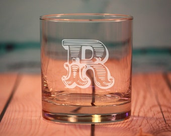 9 Custom Etched Old Fashioned Glasses - Rocks Glasses