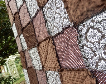 California King Size Rag Quilt Bedding in Damask and Brown Minky, Handmade in NJ