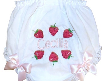 Personalized Baby Girl Diaper Cover, Bloomers Strawberries Design Large Bows Free Shipping