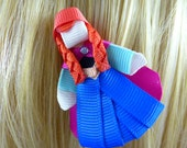 New - Frozen's Anna  Disney Princess Inspired Ribbon Sculpture Hair Clip ...Hair Accessory ...Hairbow