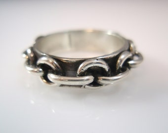 Duet Cable Chain band  ring sterling silver 925