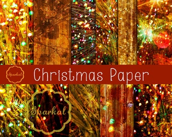 Rustic Wood Digital Paper, Christmas Rustic Textured Paper, Wood Christmas Lights Overlay Distressed Wood Background, Glitter Paper