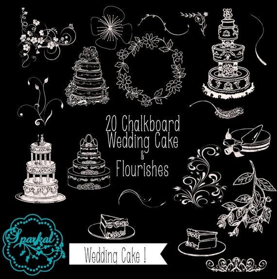 Wedding Cake CHALKBOARD Images ChalkBoard Swirls Chalkboard