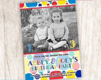 Combined Birthday Party Photo Invitation, Joint Birthday Party Invite, Brother Sister Dual Party - DiY Printable    Primary Polka Dot Duet