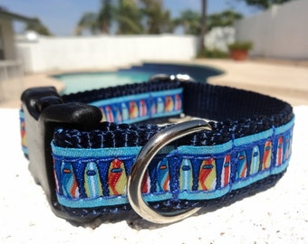 "Surf Beach, Small Dog Collar, Surfboards, 3/4"" wide, Quick Release buckle, incl dogs neck size - upgrade to Martingale"