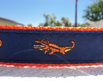 "Sale Dog Collar Alligator Orange 1"" wide adjustable side release buckle /  no martingale, limited ribbon"
