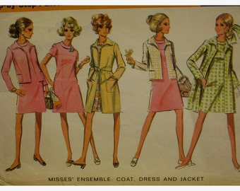 """1960s Dress and Coat Pattern, Yoke, Bias Roll Collar, Fitted to Hip, Open Coat, Flip Back Collar, McCalls No. 9629 Size 10 (Bust 32.5"""" 83cm)"""