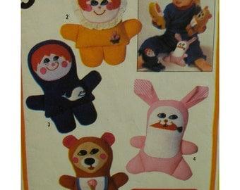 "Child's Puppets Pattern, Boy, Girl, Bear, Rabbit, Finger Puppets, Vintage PLAYSKOOL  - Simplicity No. 6013 Size; 7"" 18cm high"