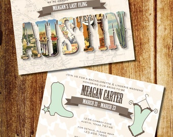Texas Bachelorette Weekend Invitation