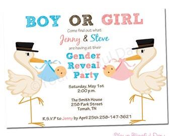 PRINTABLE Gender Reveal Baby Shower Invitations #204
