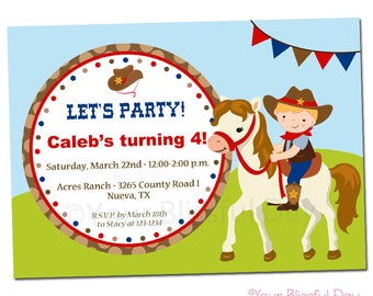 PRINTABLE Cowboy with Horse Party Invitations (Character of your choice) #522