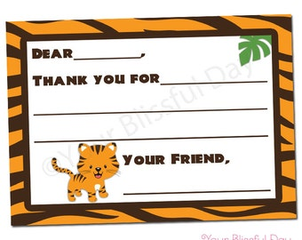 PRINTABLE Tiger Fill-in-the-Blank Thank You Cards (Boy or Girl) #595