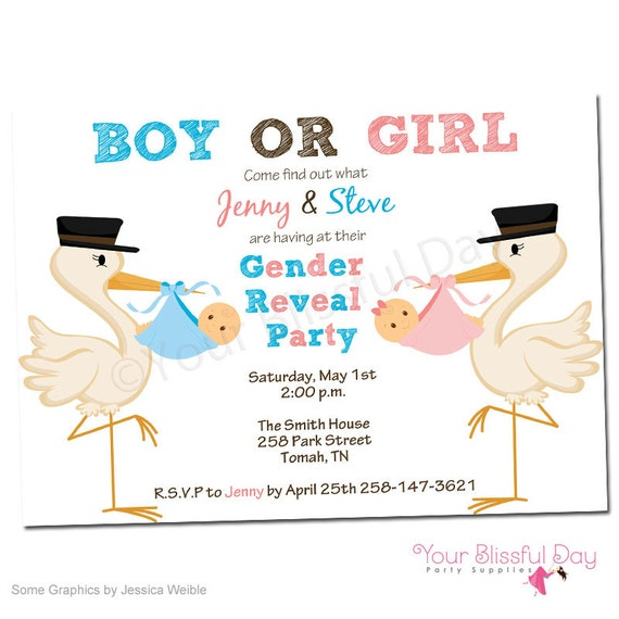 PRINTABLE Gender Reveal Baby Shower Invitations 204
