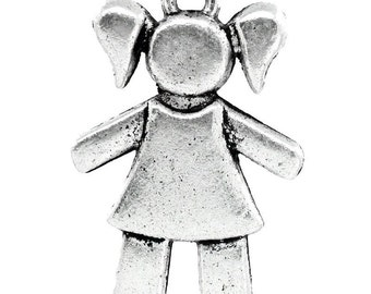 2 Antique Silver Little Girl Pendant Charm 29x20mm