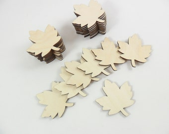 "Wood Leaf Blanks Laser Cut Wood Shapes Maple Leaves 1 1/2"" H x 1 3/8"" W - 25 Pieces"