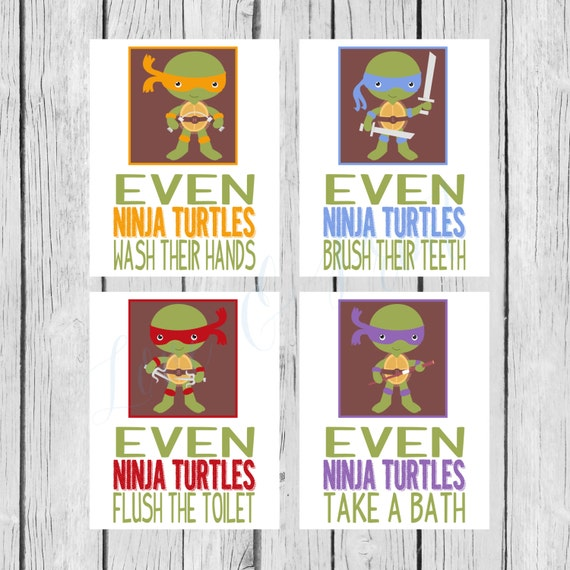 Items Similar To Ninja Turtle Bathroom Set Printable Wash Your Hands Tak