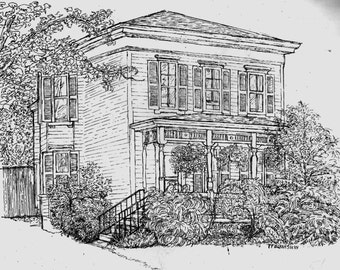 House Portrait  Pen and Ink Drawing Custom Original Home Drawing, Watercolor Home, House Illustration, Unique Gift by Patty Fleckenstein