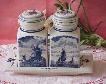 Vintage Hand Painted Blue Delft Containers with Tray Windmills Sailboats Holland