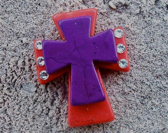 Large Stacked Orange Stone Cross with Purple Stone Cross and Bling
