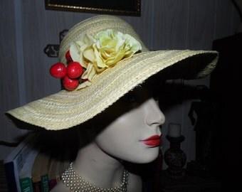 Vintage Wide Brim Yellow Straw Hat/Flowers/Fruit Berries
