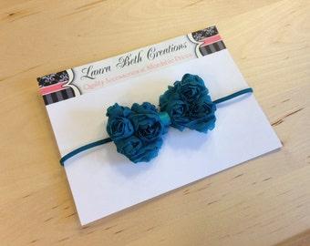 Teal Mini Chiffon Rose Bow Headband - Baby Headband - Toddler Headband - Newborn Headband - Bow Headband