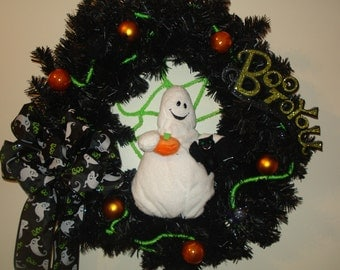 Halloween wreath black pine friendly ghost BOO wall  door decoration