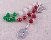 Saint Dymphna Prayer Chaplet in red, white and green jade with Assumption of Mary center