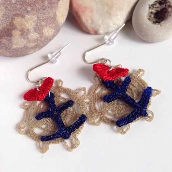 Crochet Hook Earrings: I Love Waves Nautical Crochet Fish Hook Earring Sterling