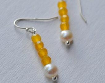 Honey Yellow Jade and Pearl Earrings